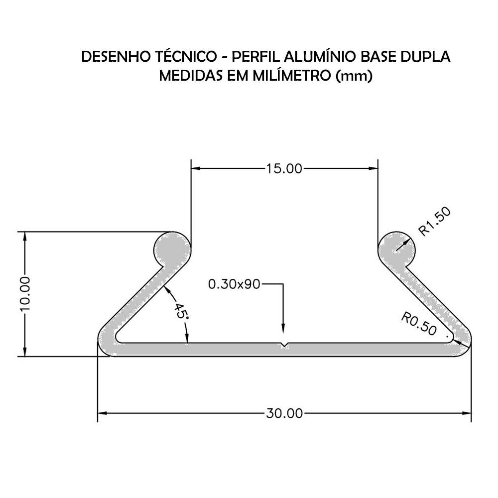 PERFIL DE ALUMÍNIO BASE DUPLA - BARRA DE 2 METROS