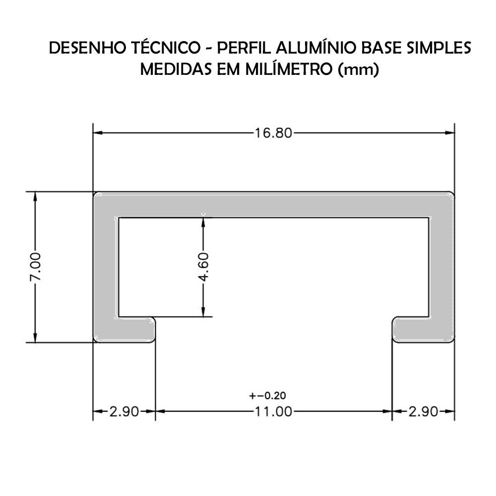 PERFIL DE ALUMÍNIO  BASE SIMPLES - BARRA DE 2 METROS