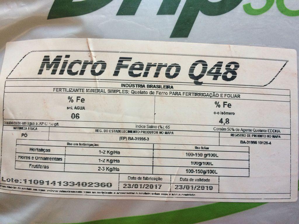 Quelato de ferro Q48 EDDHA 6% - Sqm-Vitas Dripsol Micro 10 KG