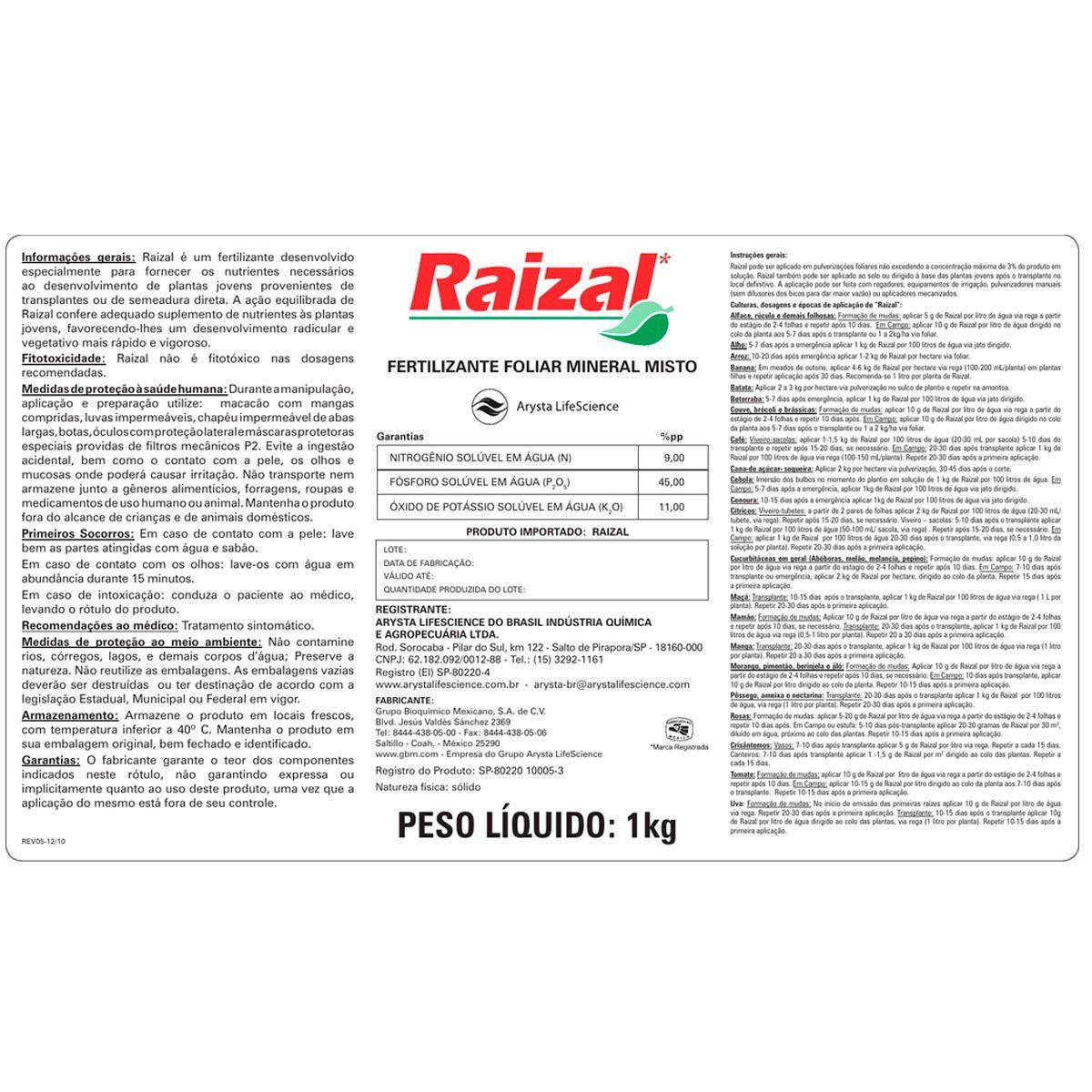 RAIZAL ARYSTA LIFESCIENCE - FERTILIZANTE FOLIAR MINERAL MISTO