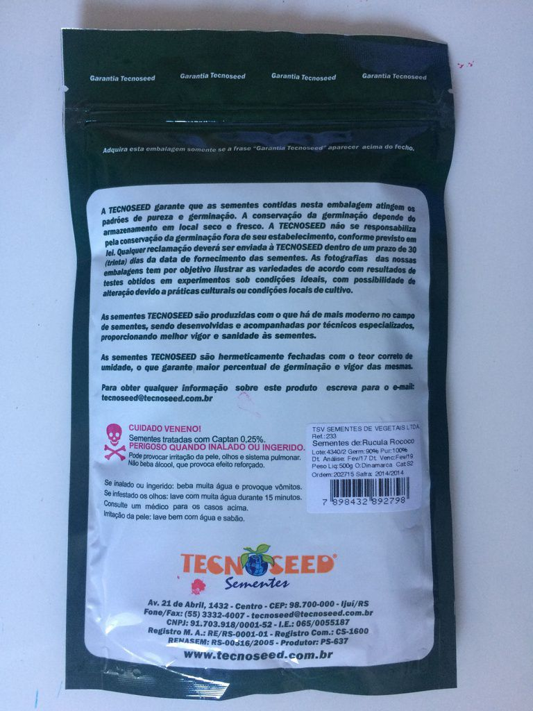 Semente Rúcula Rococó - TECNOSEED 500 gramas