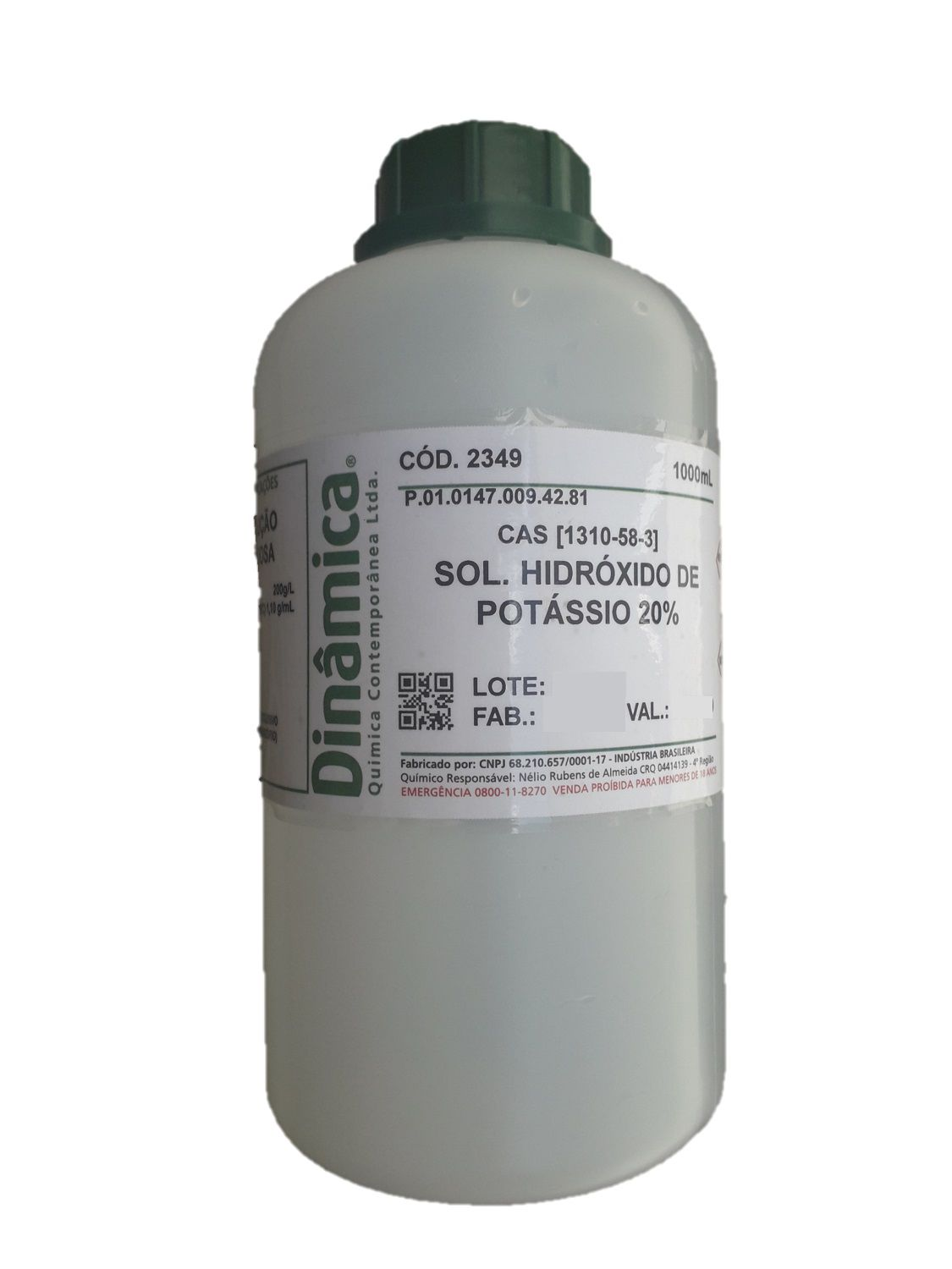 SOL. HIDROXIDO DE POTASSIO 20% -  AQUOSA 1000ML