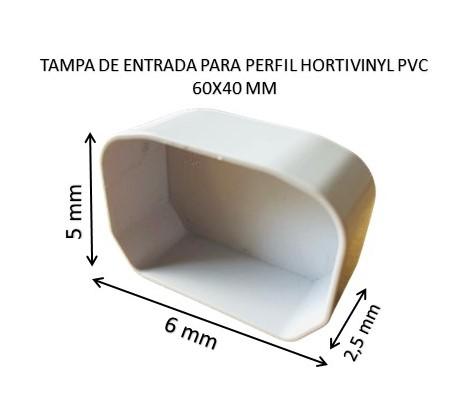 TAMPA DE ENTRADA PARA PERFIL HORTIVINYL PVC 60X40 MM