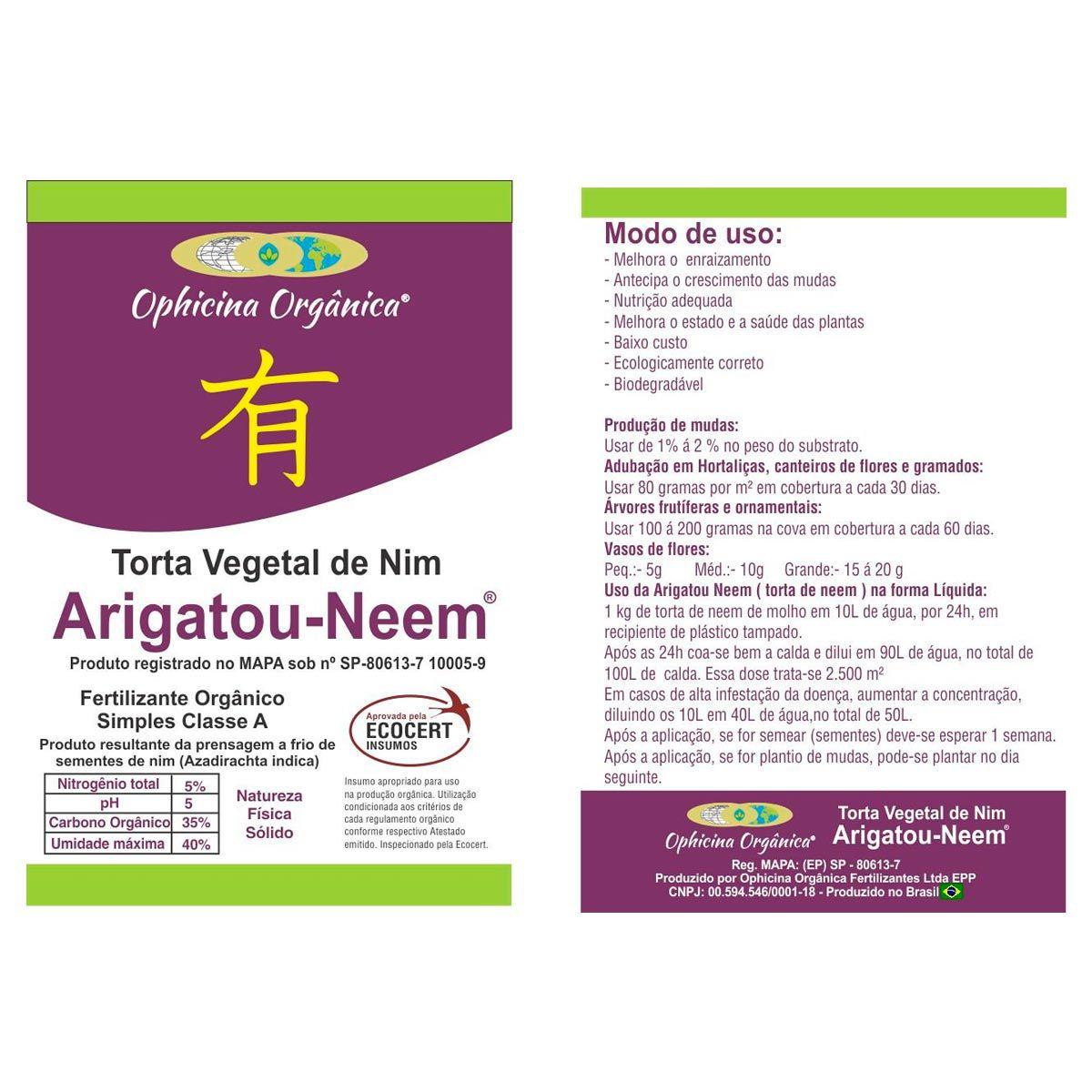 Torta Vegetal de Nim - Arigatou Neem 1 KG
