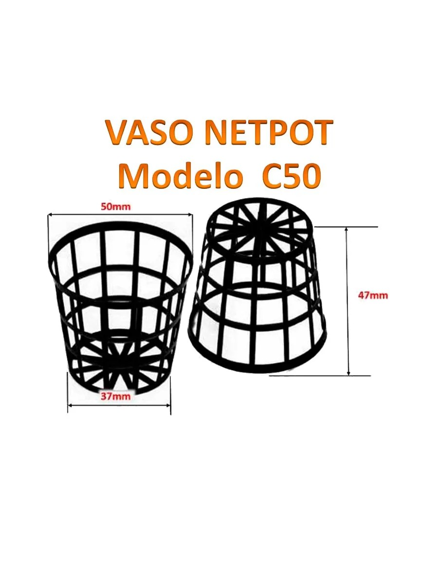 Vaso REDINHA 5,5 PRETO - NETPOT C50 - 100 UNIDADES