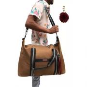 Bolsa Lona De Mão Transversal + Pom Pom Masculino Passeio Viagem