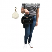 Bolsinha Feminina + Pompom Transversal Franja Passeio