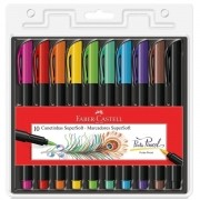 Caneta Supersoft Brush Pen Faber Castell Kit C/10 Cores
