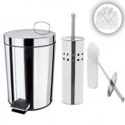 Kit Lixeira 3L Inox + Escova Com Refil Para Vaso Limpeza Banheiro