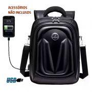 Mochila Bolsa Preta para Notebook Saída USB Sintético Moto Premium Top