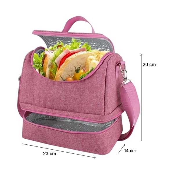 Bolsa Térmica Com 2 Compartimentos Marmita Lanches Fitness Jacki