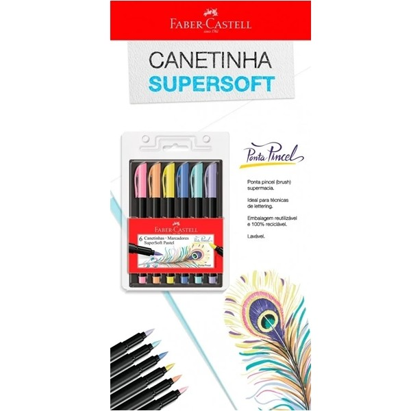 Canetinha Hidrográfica Supersoft Brush Faber-Castell-Pastel