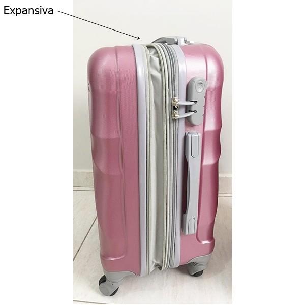 Conjunto de Malas a Bordo Yin's P e PP Rosa Viagem