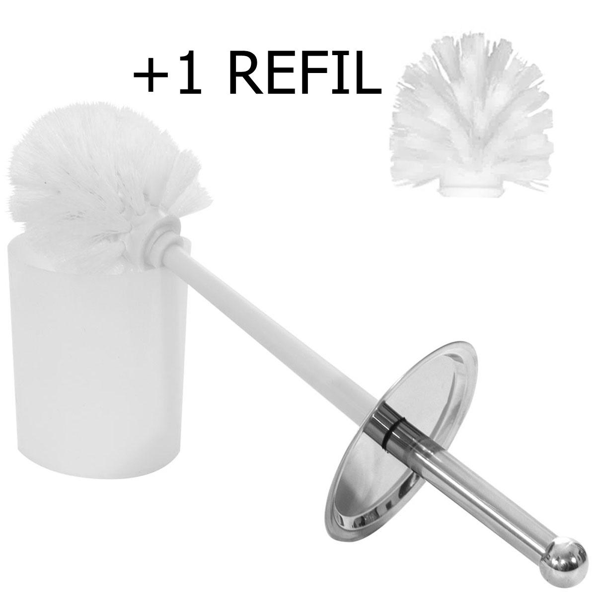 Escova Sanitária Com Cedas + 1 Refil Inox Utl