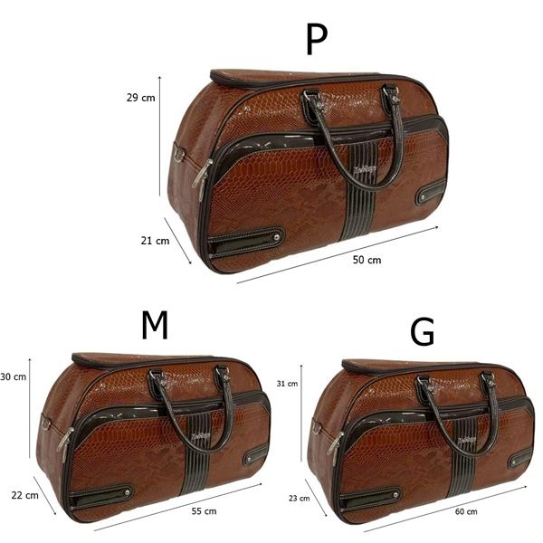 Kit 3 Bolsas Oval Sintético Marrom Transversal Tamanhos P M G Viagem + 3 Cores