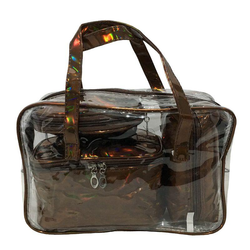 Kit bolsa frasqueira transparente + necessaires holográficas