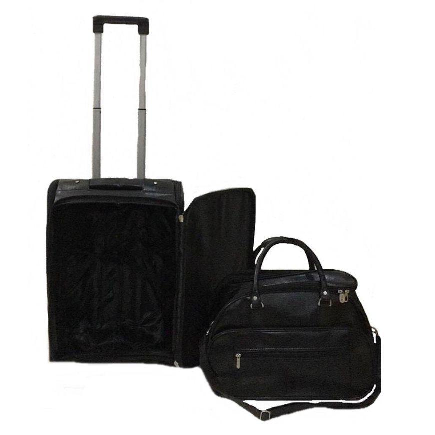 kit conjunto mala de rodinha a bordo + bagagem de mão com bolso