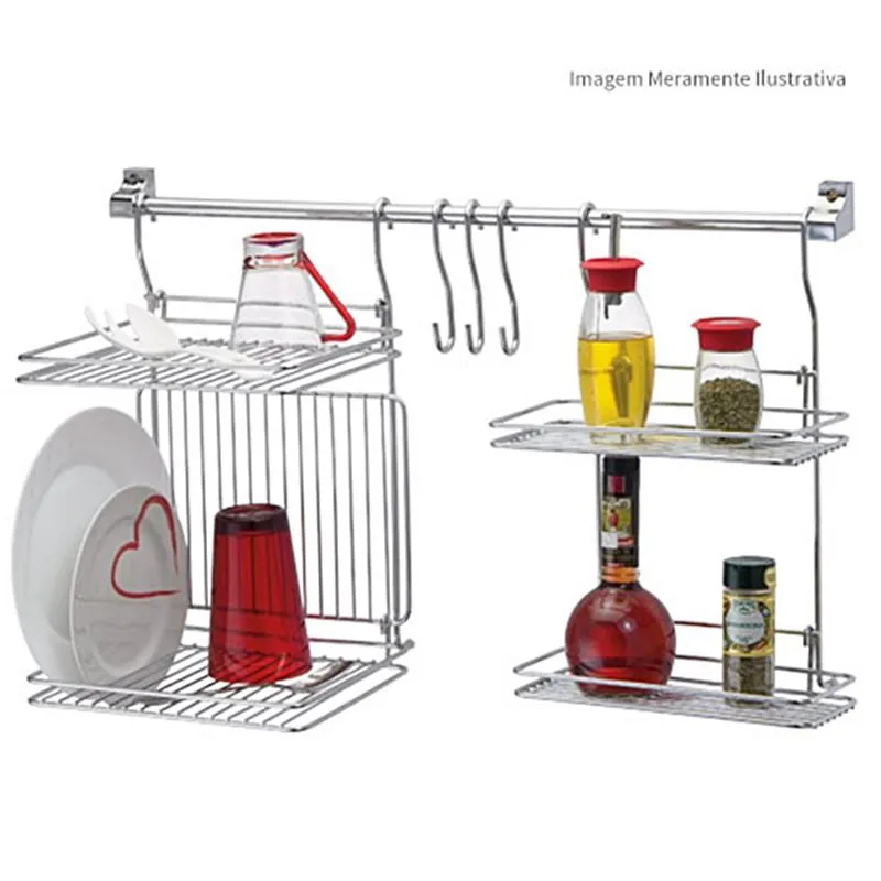 Kit Kitchen Set 4 Porta Temperos Escorredor Pratos E Copos 3 Ganchos Barra Cook Passerini