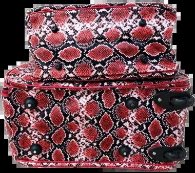 Kit Mala Rodinha Cascavel Vermelha Bolsa De Mão Cobra Maternidade Oval