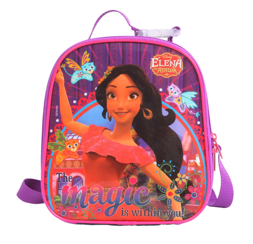 Lancheira Elena Escola Menina Original Rosa e Roxa + Porta Lanhe + Garrafinha