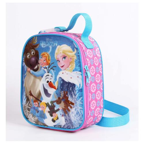 Lancheira Frozen Escola Menina Original Rosa + Porta Lanhe + Garrafinha