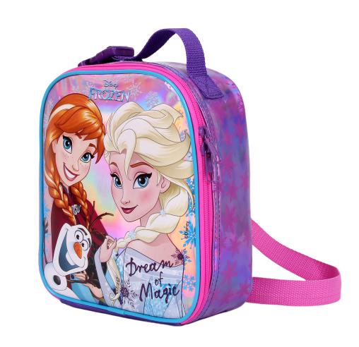 Lancheira Frozen Escola Menina Original Roxo e Rosa + Porta Lanhe + Garrafinha