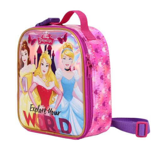 Lancheira Princesas Escola Menina Original Rosa + Porta Lanhe + Garrafinha