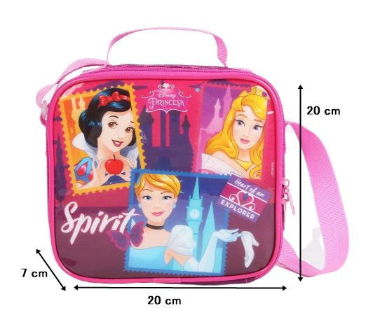 Lancheira Princesas Escola Menina Original Roxo e Rosa + Porta Lanhe + Garrafinha