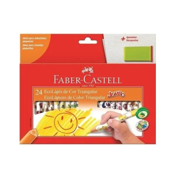 Lápis De Cor Ecolápis Jumbo 24 Cores Faber Castell + 1 Apontador