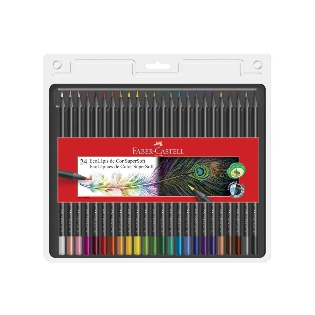 Lápis De Cor Ecolápis Supersoft 24 Cores Faber Pintar