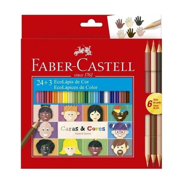 Lápis De Cor Faber Castell Ecolápis 24 Cores + 3 Tons De Pele