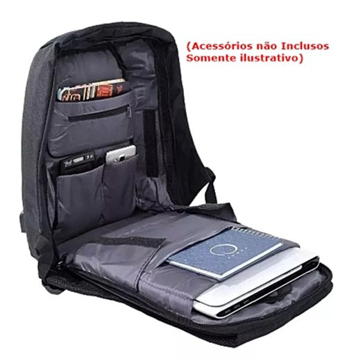 Mochila Anti Furto Laptop Usb Semi Impermeável Lukas