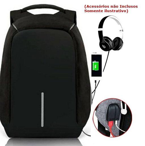 Mochila Anti Furto Roubo Laptop Usb Semi Impermeável