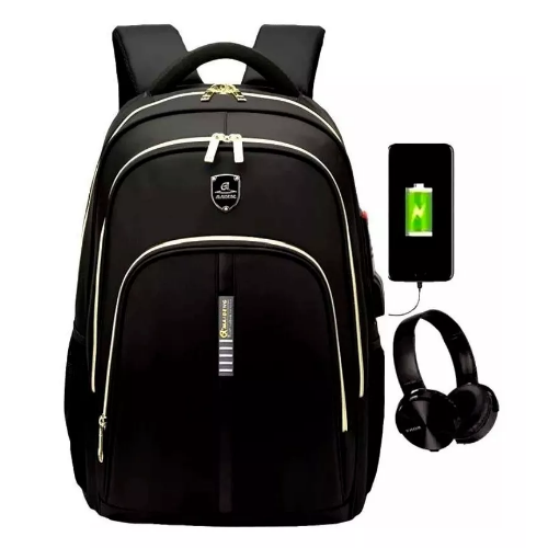 Mochila Bolsa Notebook Saída Fone E USB Impermeável Preta