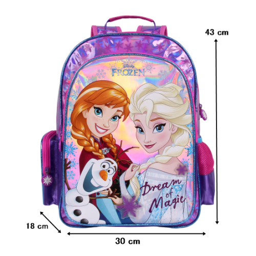 Mochila G Frozen Escola Menina Original Rosa e Roxo