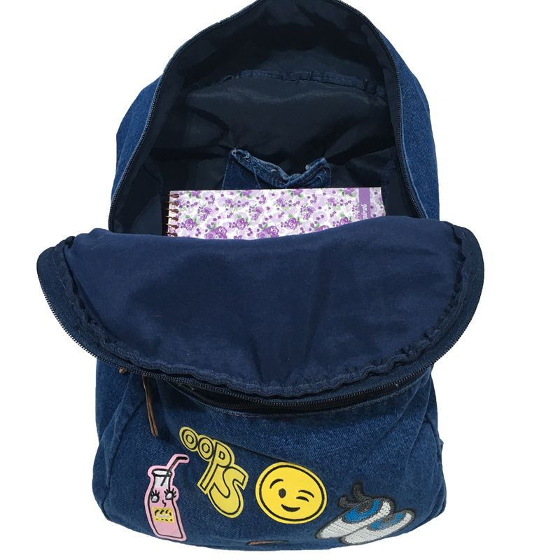 Mochila Jeans Azul Emoticons Oops