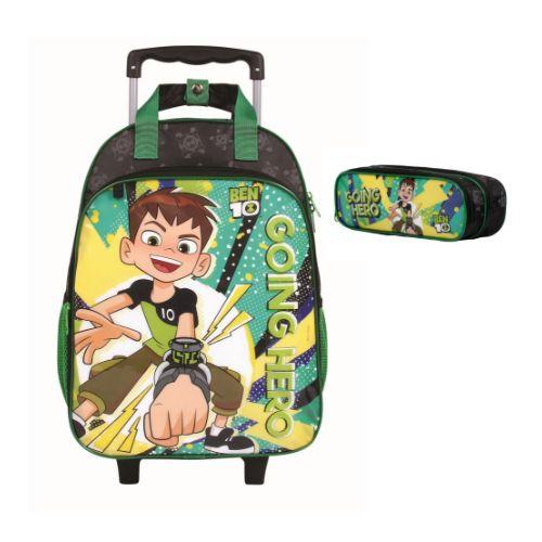 Mochila Rodinha Ben 10 Preta Proteção no Puxador Original Disney + Estojo