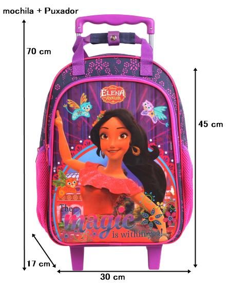 Mochila Rodinha Elena Menina Rosa e Roxa Proteção no Puxador Original Disney