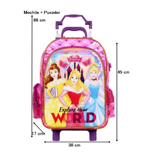 Mochila Rodinha Princesas Escola Menina Rosa Proteção no Puxador Disney
