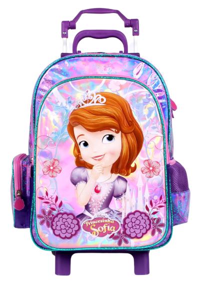Mochila Rodinha Sofia Menina Rosa e Roxa Proteção no Puxador Original Disney