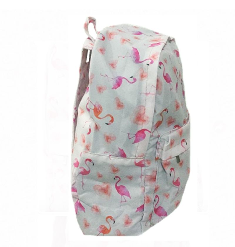 Mochila Universitária Tecido Flamingo + Estojo