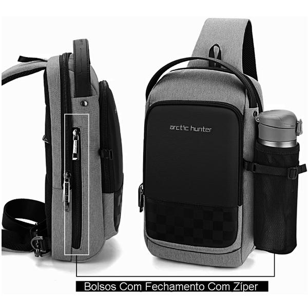 Peito Saco Pochete Entrada USB Bolsa Viagem Sling Arctic Hunter Preto