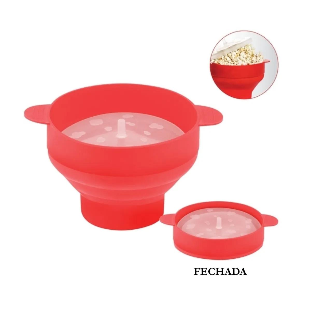 Pipoqueira Para Microondas Silicone Vermelha Filme Uny