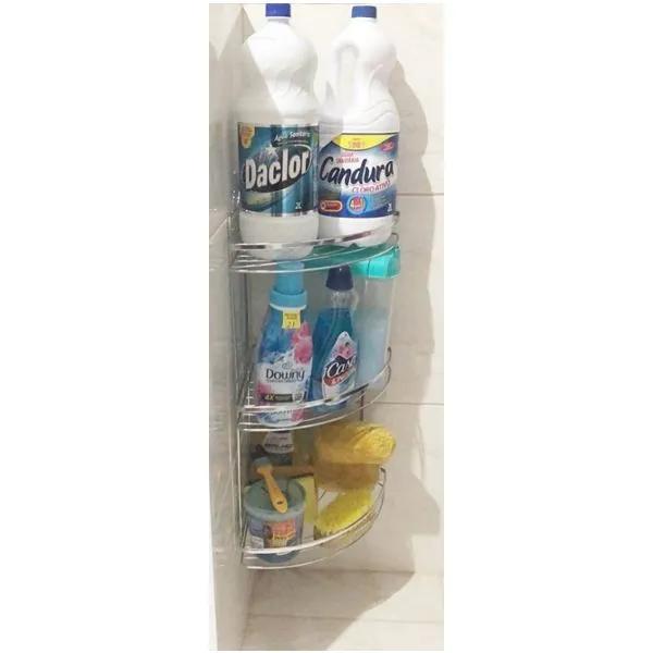 Porta Shampoo Tripla Cantoneira Banheiro Lavanderia Laminada Passerini