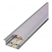 Perfil Embutir Para Fita LED Barra 2 Metros Acabamento Branco 27x15mm