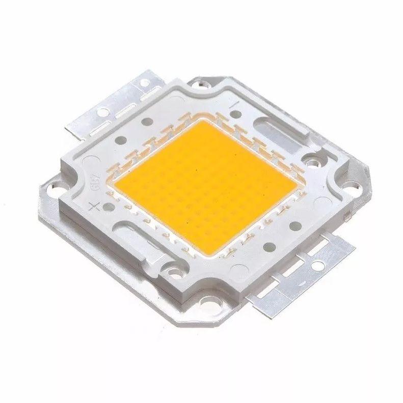 Chip LED COB 50W Real para Refletor Branco Quente 3000K