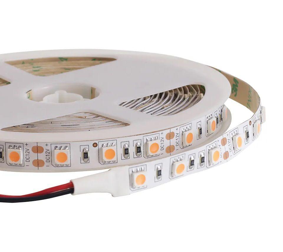 Fita LED 14.4W SMD5050 IP20 12V Branco Quente 2200K AMBAR Rolo 5M