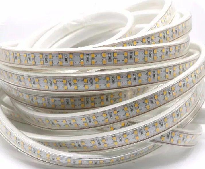 Fita LED 14.4W SMD5050 IP67 LED Duplo 220V Branco Quente 3000K 1M