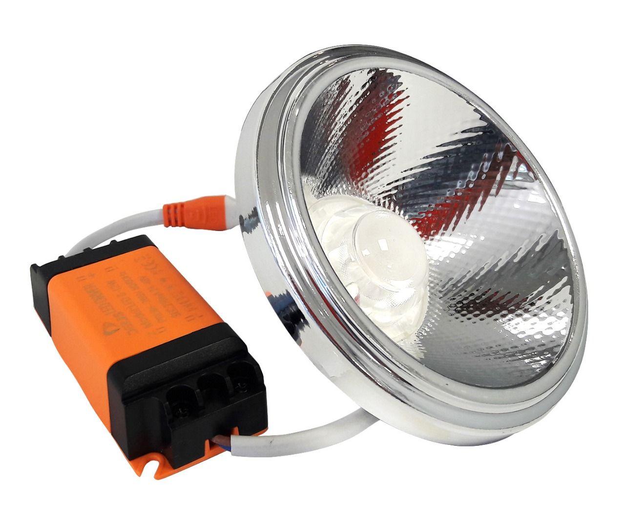 LAMPADA LED AR111 10W COB DRIVER 127V DIMERIZAVEL - BRANCO QUENTE 3000K