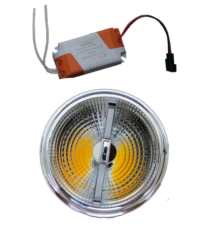 Lâmpada LED AR111 12w COB Driver Bivolt Branco Frio 6000K